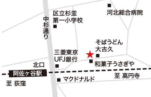 阿佐ヶ谷店の地図イラスト